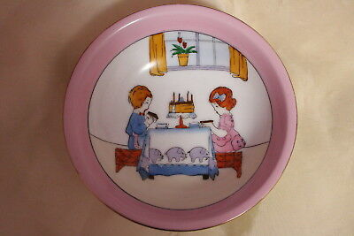 Vintage Noritake Art Deco Hand Painted Birthday Party Cake Scene Bowl Beautiful!