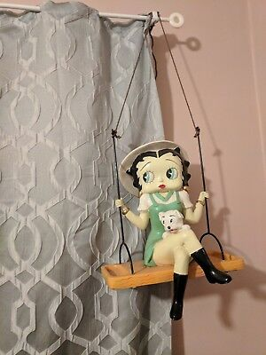 Large Betty Boop Pudgy on Swing Hanging Figurine