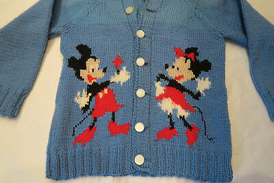 VINTAGE 1953 HAND KNIT MICKEY MINNIE MOUSE CHILD SWEATER-DISNEYANA Knit to Fit