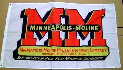 Minneapolis Moline Tractor Flag 3' X 5' Polyester Farm Equipment NEW # 664
