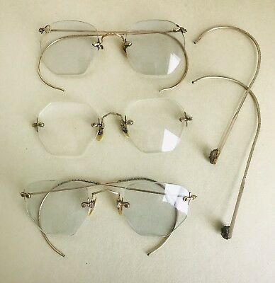 Lot Of 3 Antique Eye Glasses Spectacles Wire Rim B & L 12k Gold Filled Rimless