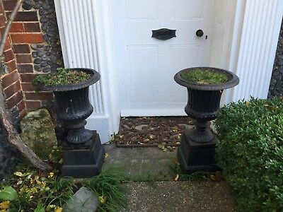 A Fabulous Pair Of Vintage Heavy Cast Iron Garden Urns On Stands. Great Size 27""