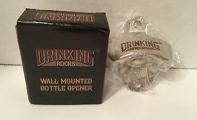 NEW Drinking Rocks Wall Mounted Bottle Opener Beer Soda Bottle Bar Man Cave