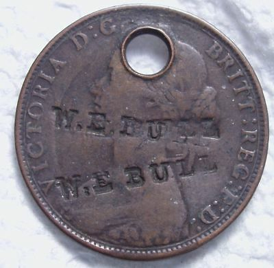 1862 Great Britain Half Penny.  *W.E. Bull*  Counter Stamp.  Brunk Unlisted