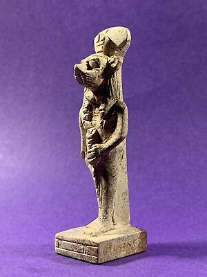 Circa 1370-770Bce Ancient Egyptian Maahes God Of War Statuette With Hieroglyphs