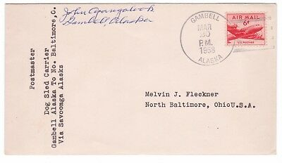 Pre-Statehood 1958 Gambell, ALASKA Dog Sled Carrier Mail to NORTH BALTIMORE, OH