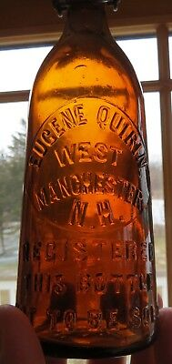 Gorgeous Eugene Quirin West Manchester NH Amber Blob Beer w/Orig Lightning Stop!