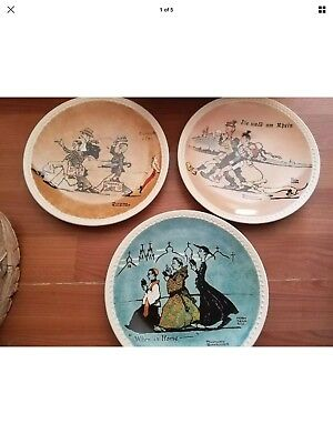 3 Norman Rockwell On Tour Newell Pottery Decorative Collector Plates