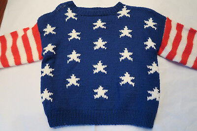 VINTAGE  HAND KNITTED Patroitic RED White BLUE Stars Stripes CHILD  PET SWEATER