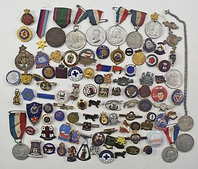 Collection of 100 Assorted Vintage Old Enamel Badges Medals Brooches