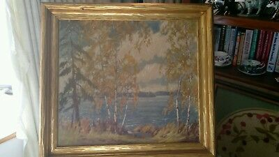 Antique Autumn James Topping Oil Painting On Upson Company Wallboard Framed.