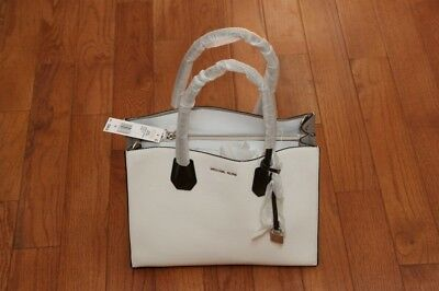 7fb0dcc90e NWT Michael Kors  298 Studio Mercer Large Convertible Tote Handbag White  Black