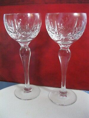 ONE PAIR OF GOOD QUALITY TALL AND HEAVY VINTAGE CRYSTAL GLASSES/GOBLETS, 19 cm.