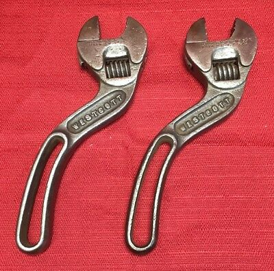 """Pair Of Rare Antique Keystone Mfg Co Westcott 8"""" Adjustable Pipe Wrenches Curved"""