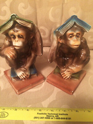 Norleans Monkey Bookends Set Of 2 Japan Vintage Very Good Condition