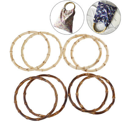 1Pair Round Bamboo Bag Handle for Handcrafted Handbag DIY Bags Accessories3C