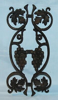 Architectural Salvage Wrought Iron Gate Fence Porch Post Fragment Grapes Leaves