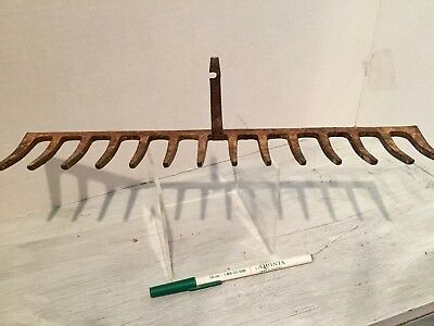"Vintage Rusted Iron Rake Head Tool 14"" Farm / Garden  Tool or Decor"