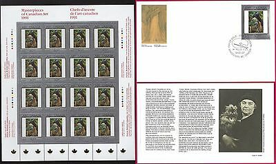 1991 PAINTINGS 4 Emily Carr --- Canada 1310 SHEET + FDC --- CV $39.00