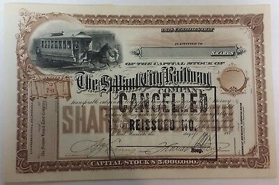 1880's St. Paul City Railway, stock cert., signed by Thomas Lowry.