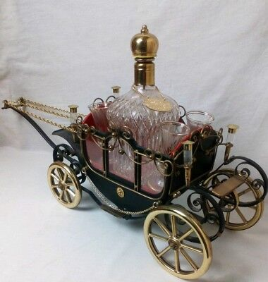 Vintage Japanese Musical Carriage Decanter Set For Whisky Or Brandy