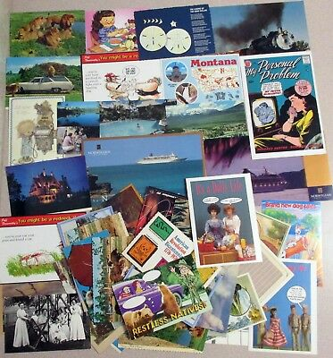 Lot of 50 Vintage Various Unused Postcards for mailing  - Comic, Scenery &