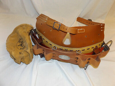 "KLEIN TOOLS Lineman BODY BELT w Double Belt HEAVY DUTY 5289N22 climbing 37""- 45"""