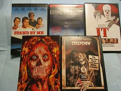 Stephen King Lot Of 5 DVD's Carrie, It, Riding The Bullet, And Stand By Me Creep