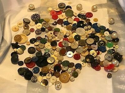 Assorted Vintage Buttons Bag Plastic Metal Small Large Different Colors Styles