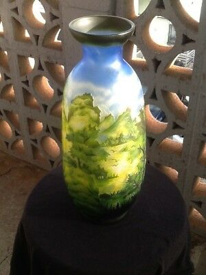 Antique Colored Glass Vase ~Art Nouveau Peking(?) Glass~ Beautiful Scenery! 13""