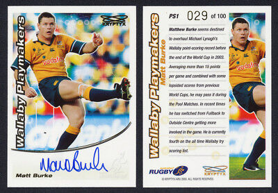 Matt Burke 2003 AUTHENTIC SIGNATURE & Redemption Kryptyx Rugby Union Cards
