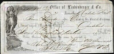 Bill Of Exchange From Office Of Lindenberger & Co, 1858, Louisville, Ky.
