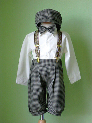 Infant Toddler Boy Knickers Vintage Outfit, Ivory/Brown  Size: 24 Month to 4T