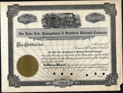 Lake Erie, Youngstown & Southern Railroad Co Of Ohio, 190-, Unissued, Crisp Stk.