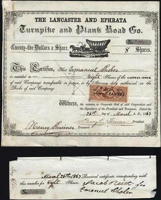 Lancaster And Ephrata Turnpike And Plank Road Co, 1863, Rev. Affixed + Receipt