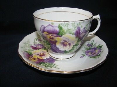 Royal Vale Bone China Cup and Saucer Purple & Yellow Pansies 1913-1953