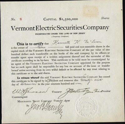 Vermont Electric Securities Co, New Jersey, Uncancelled Stock Certificate