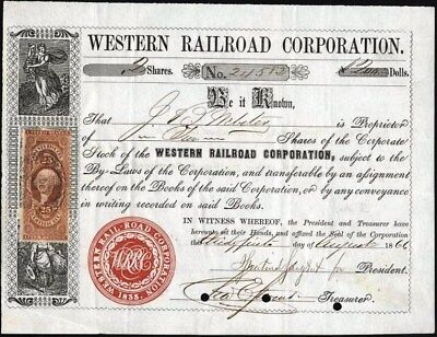 Western Railroad Corporation, 1866, + Rev. Stamp Affixed, Cancelled Stock Cft.