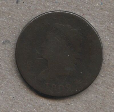 1809 Classic Head Large Cent S-280 AG/G+Nice Original Brown Coin