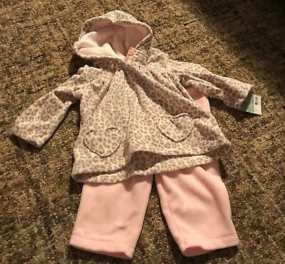 Baby Girls Carters Size 18 month hooded Cheetah print top pink pants outfit NWT