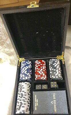 New True Religion Poker Chips Set 85 Golden Deck Cards 4 Dice in Wooden Box Chip