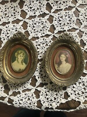 Lot Of Two Small Victorian Oval Pictures. Antique