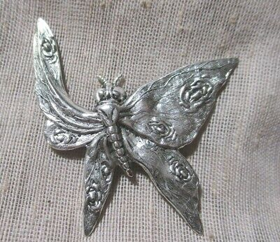 NOS XL unusual STAMPED SILVER METAL FLYING BUTTERFLY BUTTON    2 inches