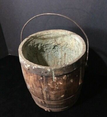 Antique Primitive Wood Wooden Paint Bucket Pail with handle