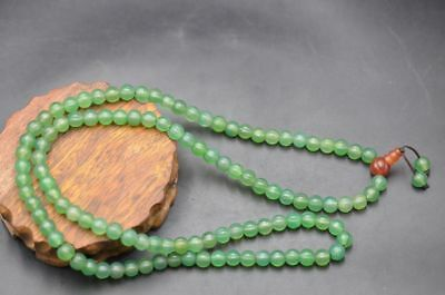 Perfect Chinese Natural Green Agate Carved Melon Shape Beads Long Necklace