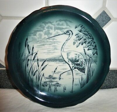 Buffalo Pottery Plate Egret Bird With Cattails Advertisement For Toledo Ohio