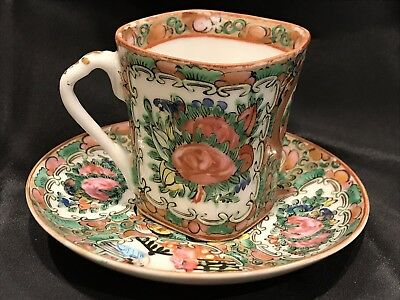 Antique Early 1900s Rose Medallion Demitasse Cup And Saucer Set