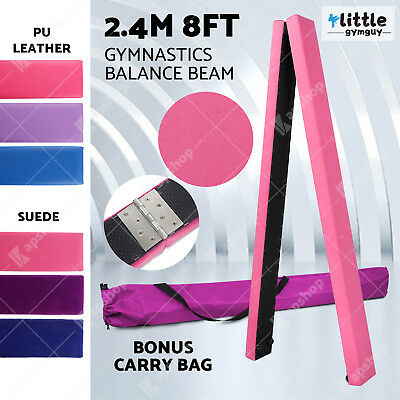 2.45m 8FT Gymnastics Folding Balance Beam Synthetic Suede/ PU Leather 3 Color OZ