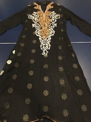 party dress, hand embroidered in black chiffon