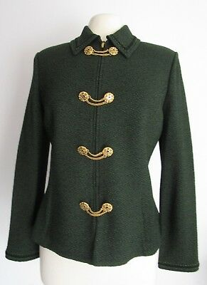 St. John Collection by Marie Gray Size 8 Blazer Jacket Santana Green Knit Chain